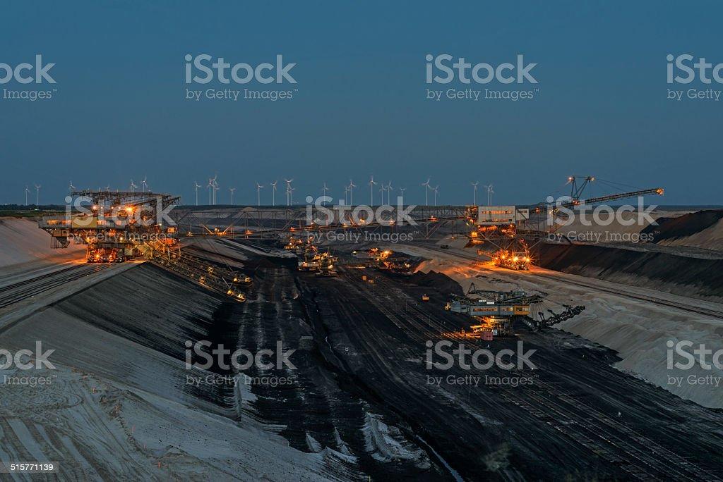 Opencast mining at dusk stock photo