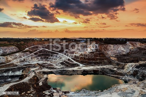 opencast mining quarry with beautiful sunlight