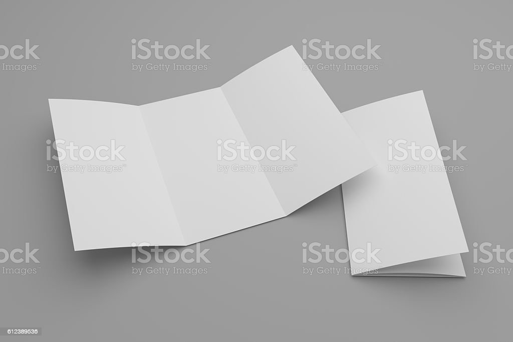 Opened 3d illustration tri-fold brochure mock-up and cover stock photo