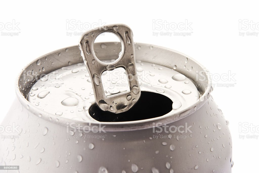 Opened aluminum can royalty-free stock photo