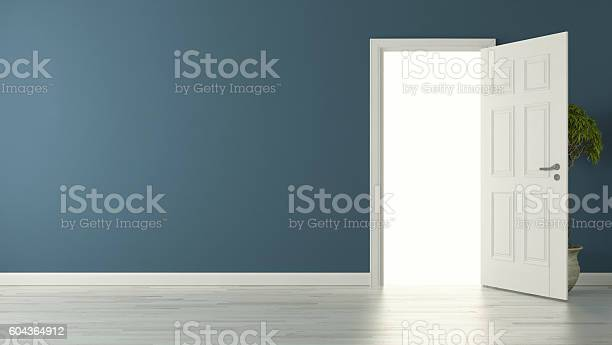 high-resolution opened door with blue wall concept 3D rendering background for your project