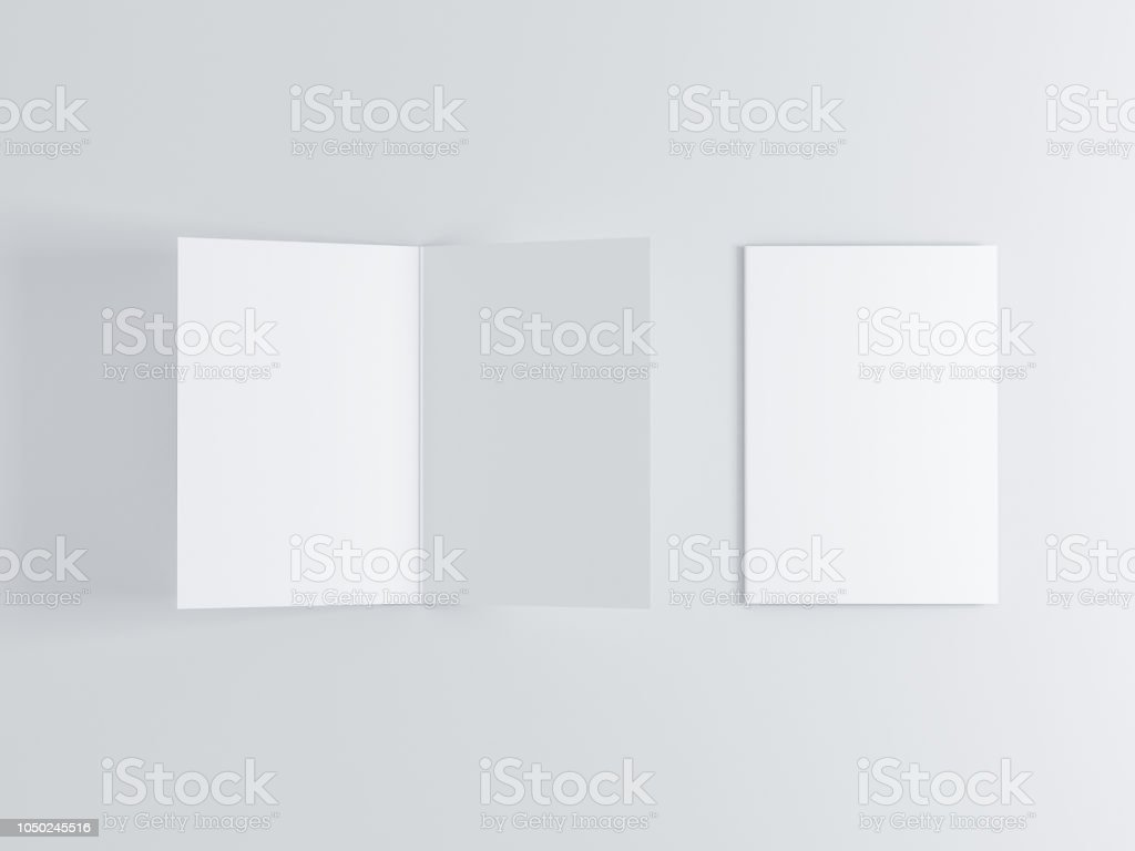 Opened and closed blank greeting card Mockup, Top view on leaflet or invitation stock photo