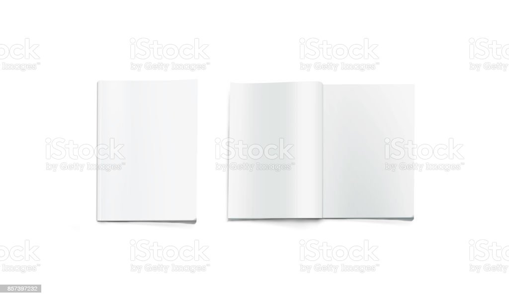 Opened and closed blank magazine mockup, isolated stock photo
