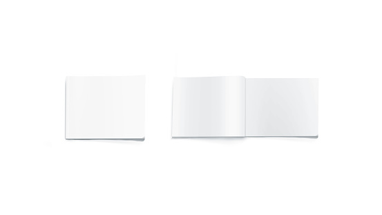 Opened and closed blank rectangular magazine mockup, isolated. White journal pages mock up lying on desk. Catalog spread and cover template. Empty notebook booklet design.