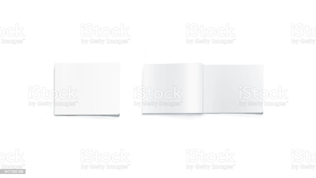 Opened and closed blank rectangular magazine mockup, isolated stock photo