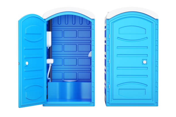 Opened and closed mobile portable blue plastic toilets, 3D rendering Opened and closed mobile portable blue plastic toilets, 3D rendering portable toilet stock pictures, royalty-free photos & images