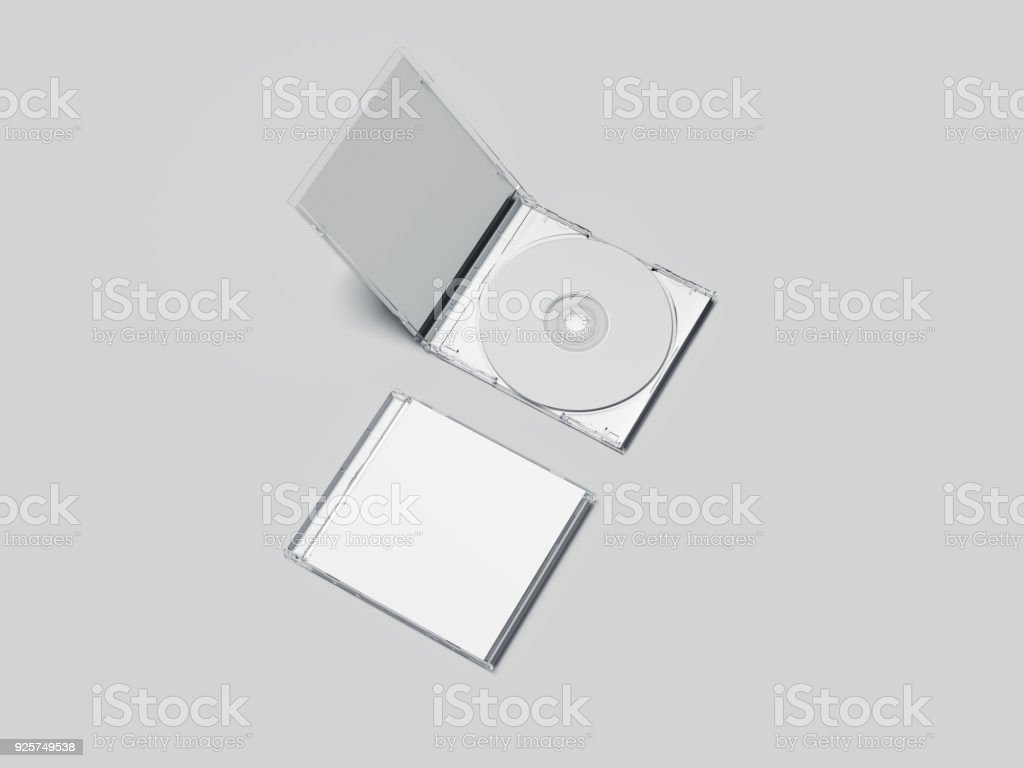 Opened and closed white disk packages. 3d rendering stock photo