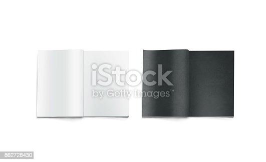 1139340462 istock photo Opened black and white blank magazine pages mockup 862728430