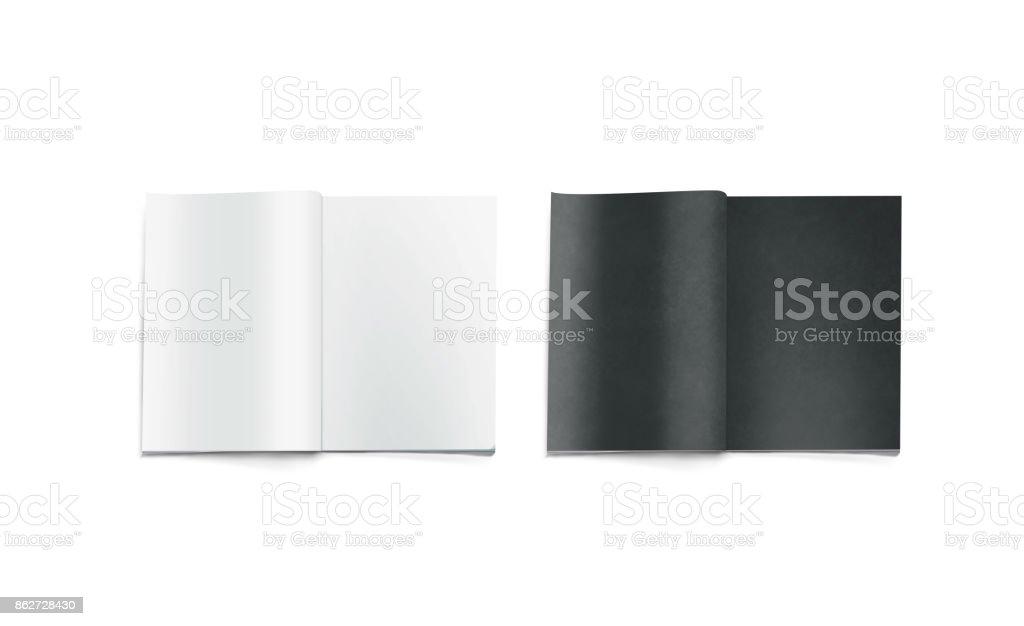 Opened black and white blank magazine pages mockup stock photo