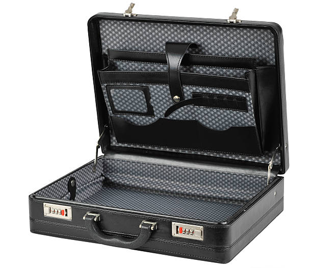 Opened black briefcase stock photo
