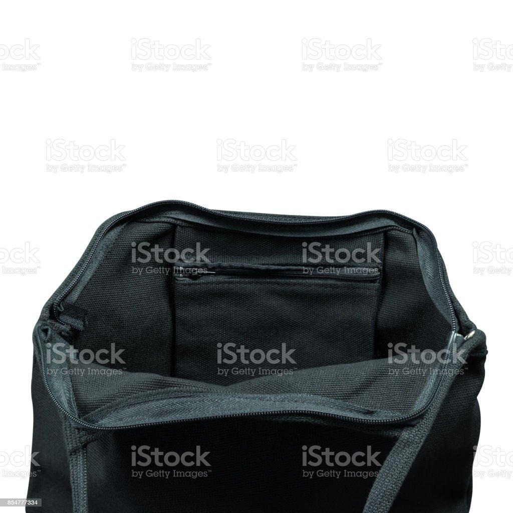 df668bd4f8374 Schwarzer Stoffbeutel isoliert auf weißem Hintergrund geöffnet. Stoff-Tasche  für Ihr Design. Clipping