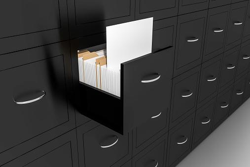 opened black file cabinet white empty documents illustration