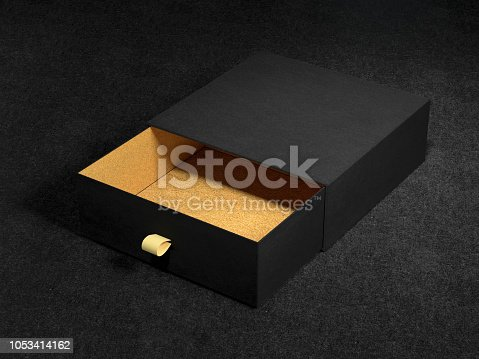 istock Opened Black Gift Box Mockup on black background, 3d rendering. Luxury packaging box for premium products. 1053414162