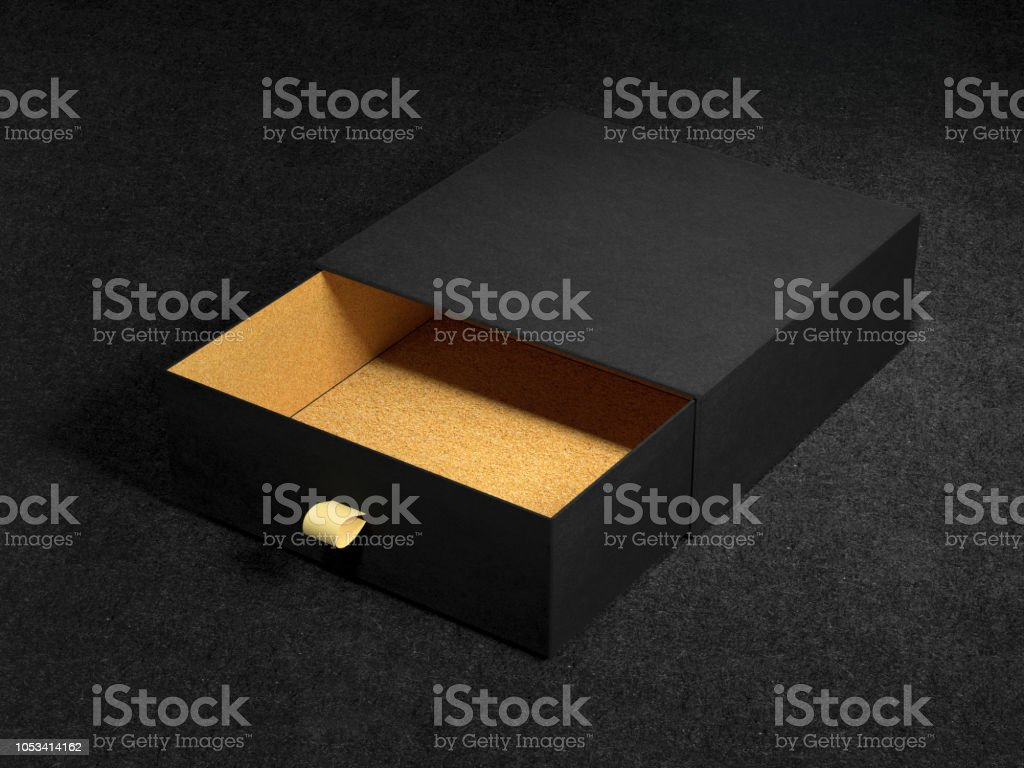Opened Black Gift Box Mockup on black background, 3d rendering. Luxury packaging box for premium products. stock photo