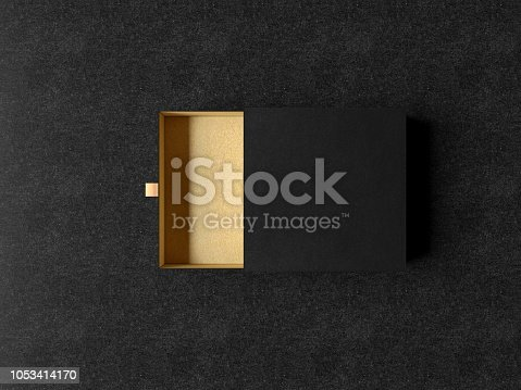 istock Opened Black Gift Box Mockup on black background, 3d rendering. Luxury packaging box for premium products. 1053414170