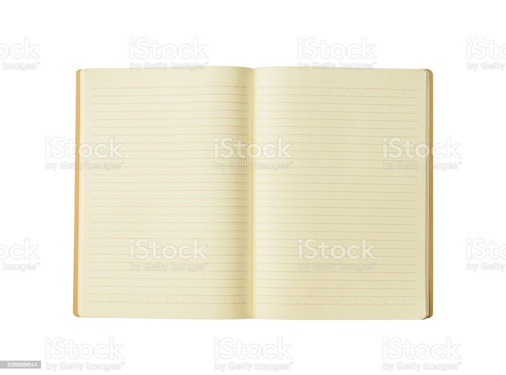 opened blank book  on white background stock photo
