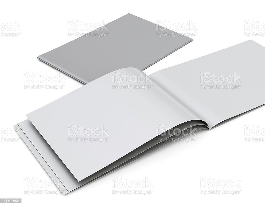 opened blank brochure bildbanksfoto