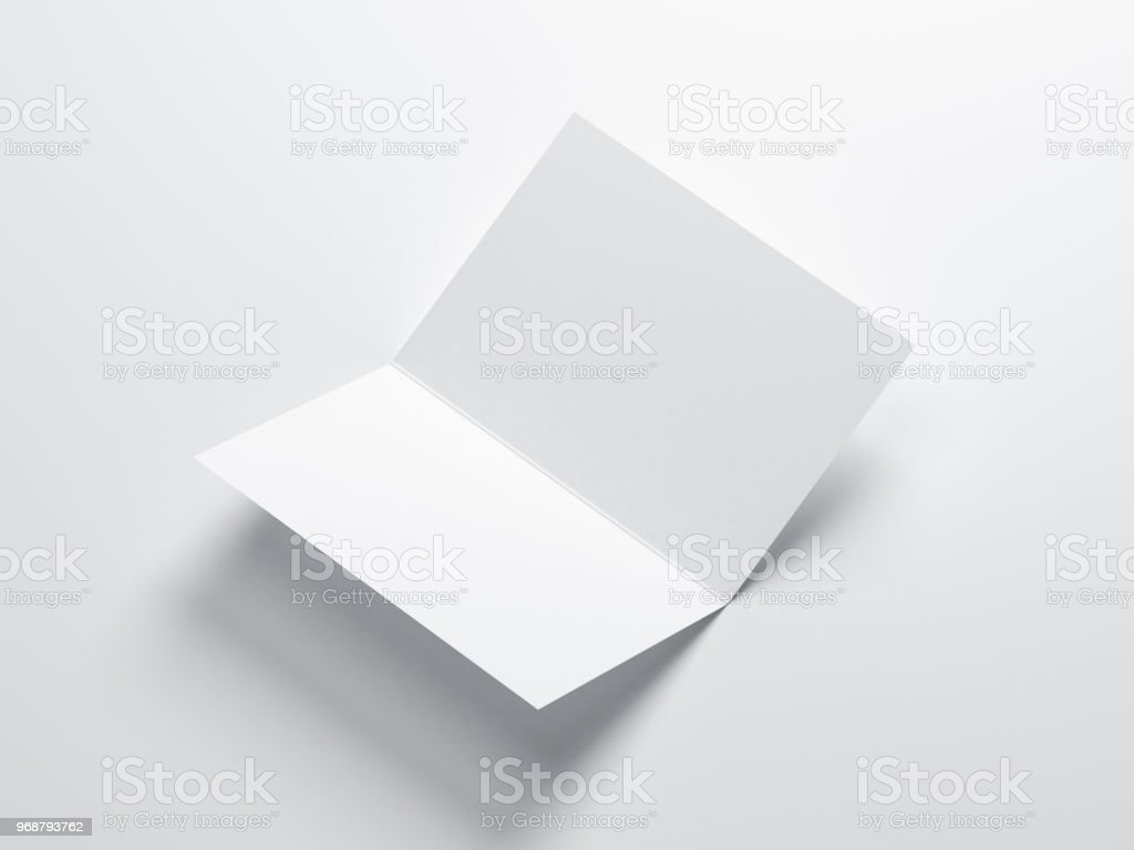 Opened Blank Greeting Card Mockup Leaflet Invitation Stock Photo