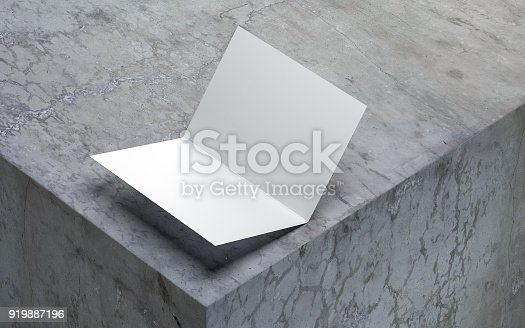 istock Opened blank greeting card Mockup on concrete, White leaflet or invitation 919887196