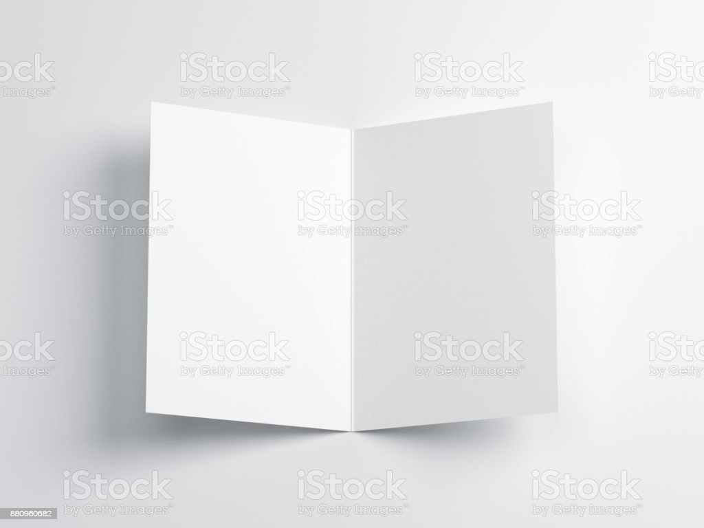 Opened blank greeting card Mockup, Top view on leaflet or invitation stock photo