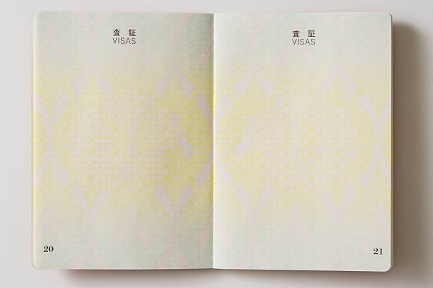 Opened blank Japanese Passport on white background stock photo