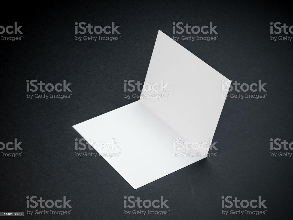 Opened Blank Leaflet Invitation Mockup Greeting Card Postcard Zdjęcia Stockowe I Więcej Obrazów Bez Ludzi