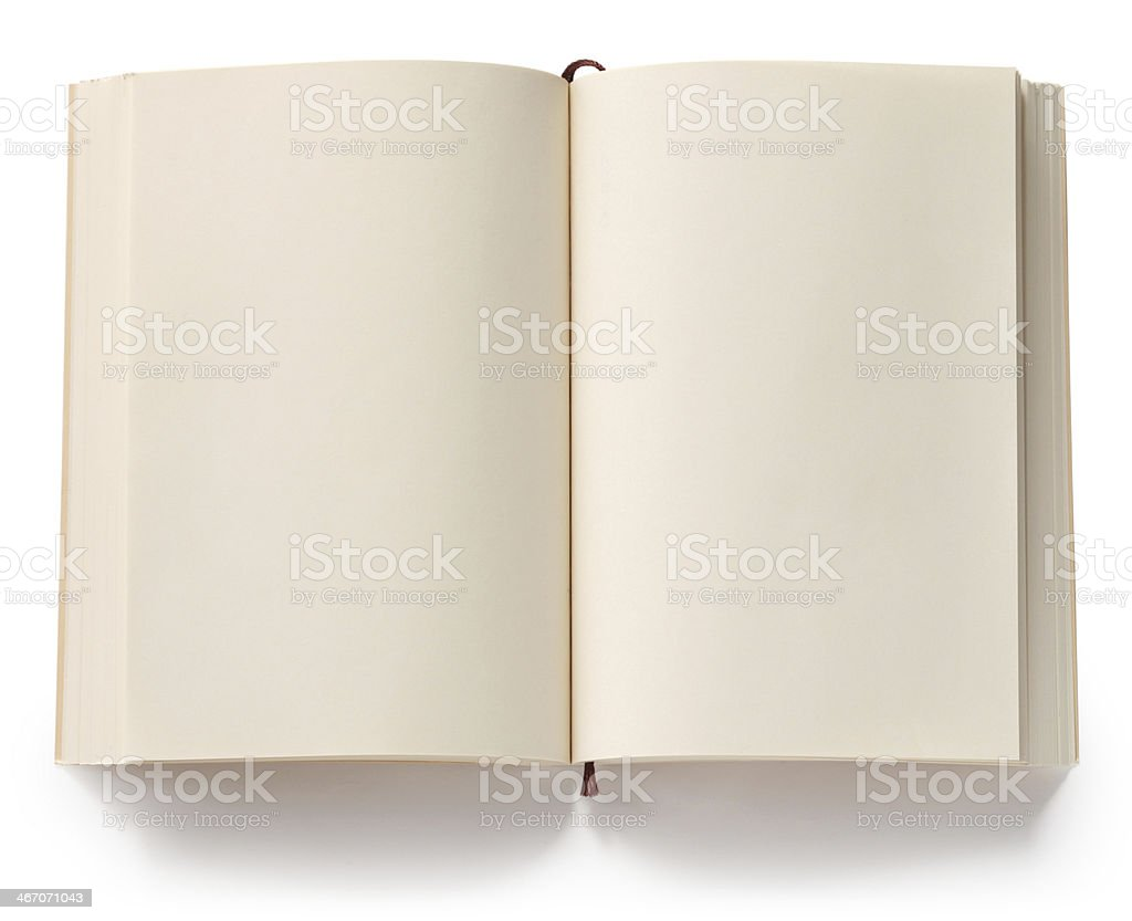 opened blank paperback with bookmark stock photo