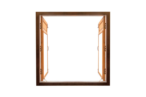 opened blank window frame stock photo