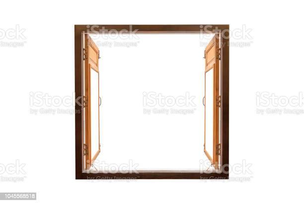Photo of opened blank window frame