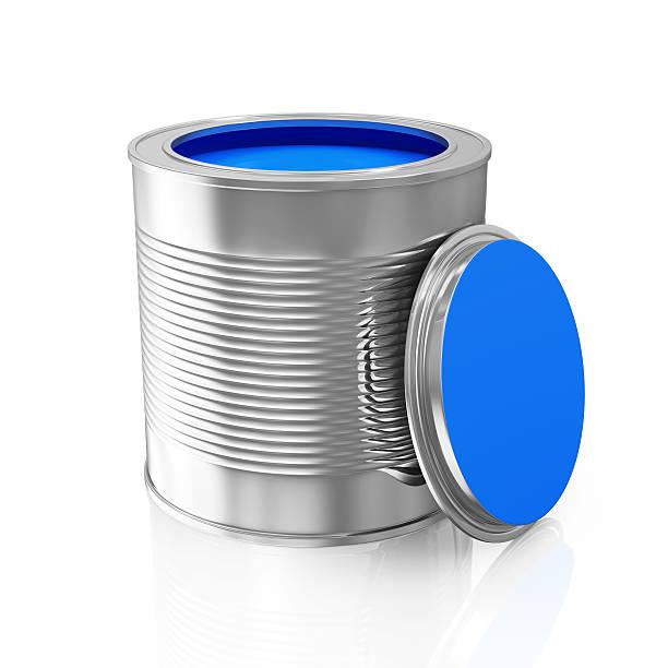 eröffnete blaue farbe kann, isoliert auf weißem hintergrund - bemalte tontöpfe stock-fotos und bilder