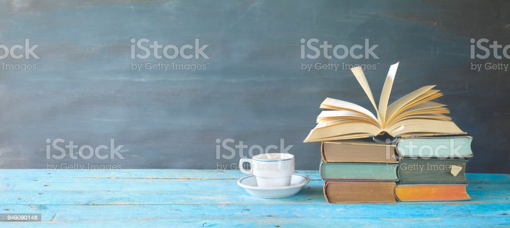 Buch, Kaffee, Panorama, gute textfreiraum eröffnet – Foto