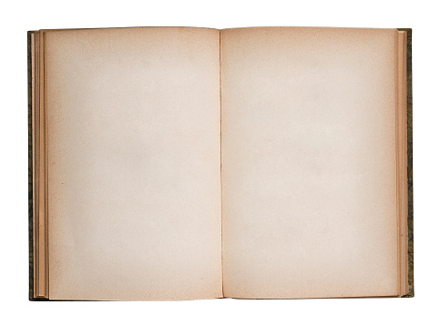 Old blank opened book. Isolated on white
