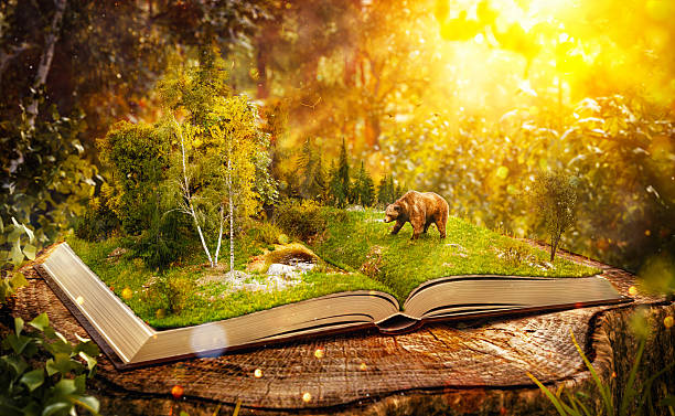opened book - forest animals stock photos and pictures