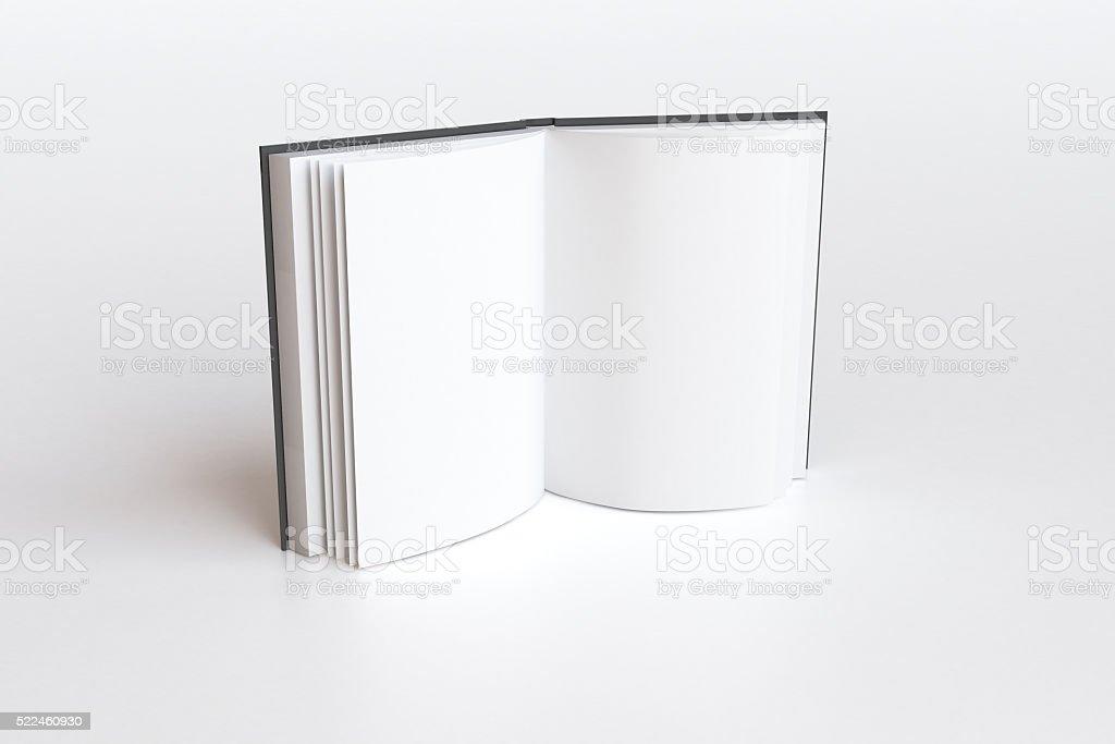 Eröffnete Buch mit leeren weißen Seiten, Mock up 3D Render – Foto