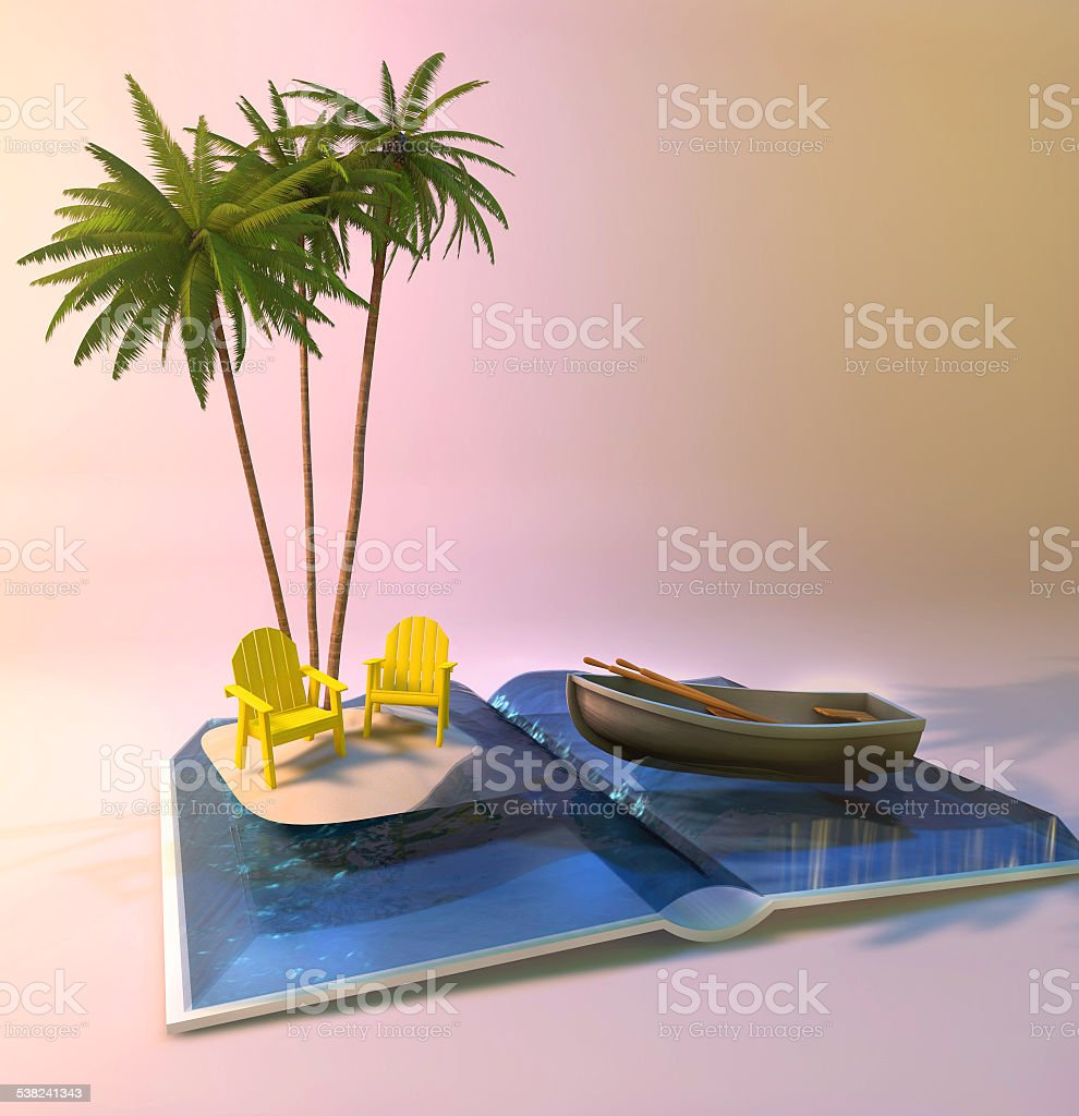 opened book with island, sunbeds and palm trees stock photo