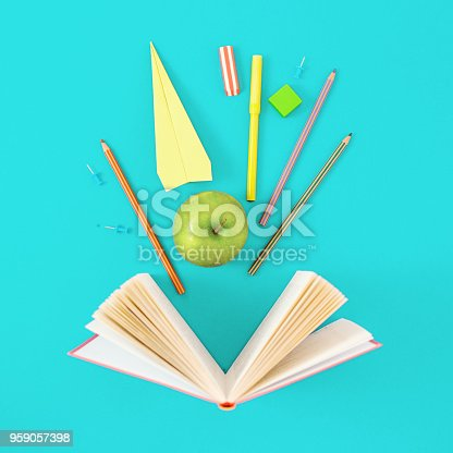 istock Opened book with school supplies on blue background. Top view minimalist education background 959057398