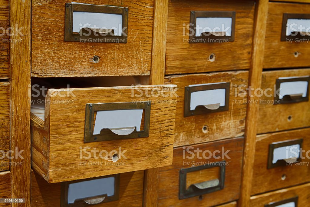 Opened box archive storage, filing cabinet interior. Vintage wooden boxes stock photo