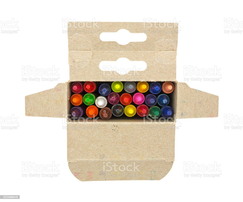 Opened box of crayons stock photo