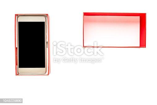 1161116588istockphoto Opened box with smartphone, black screen, elegant mobile phone isolated on white background 1045225890