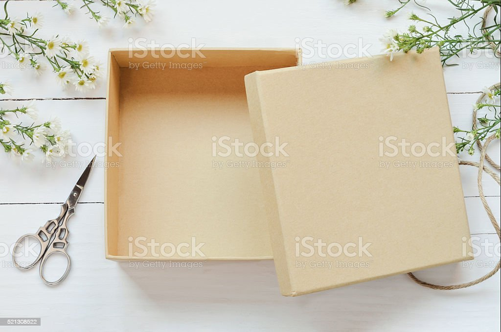 Opened brown gift box stock photo