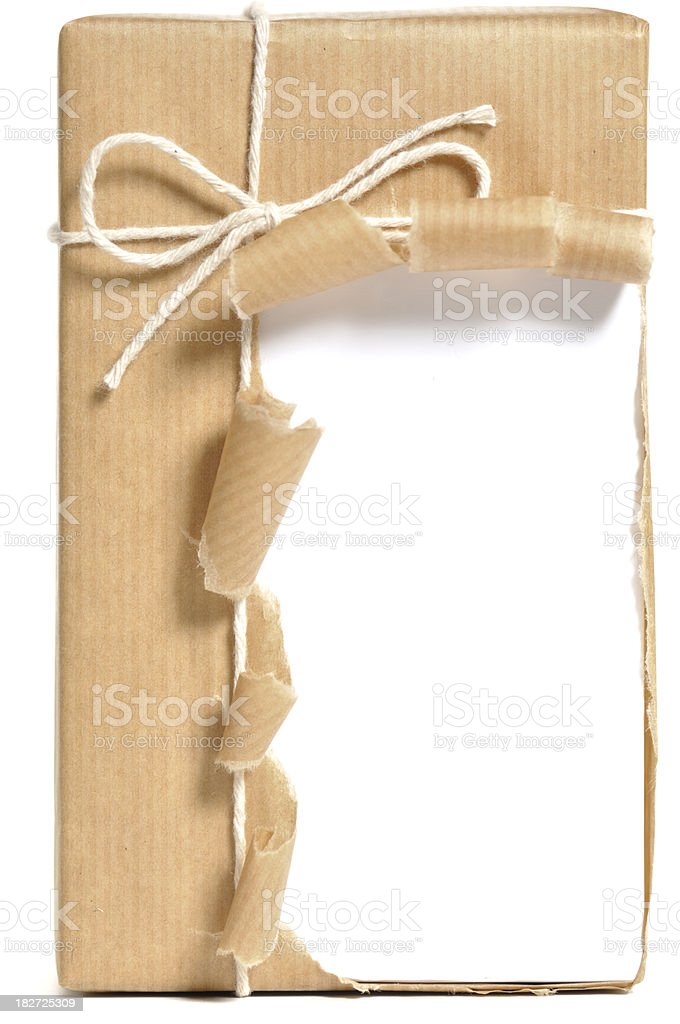 Opened, brown wrapped parcel stock photo