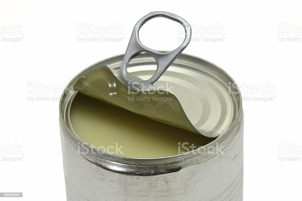 Opened can of condensed milk royalty-free stock photo
