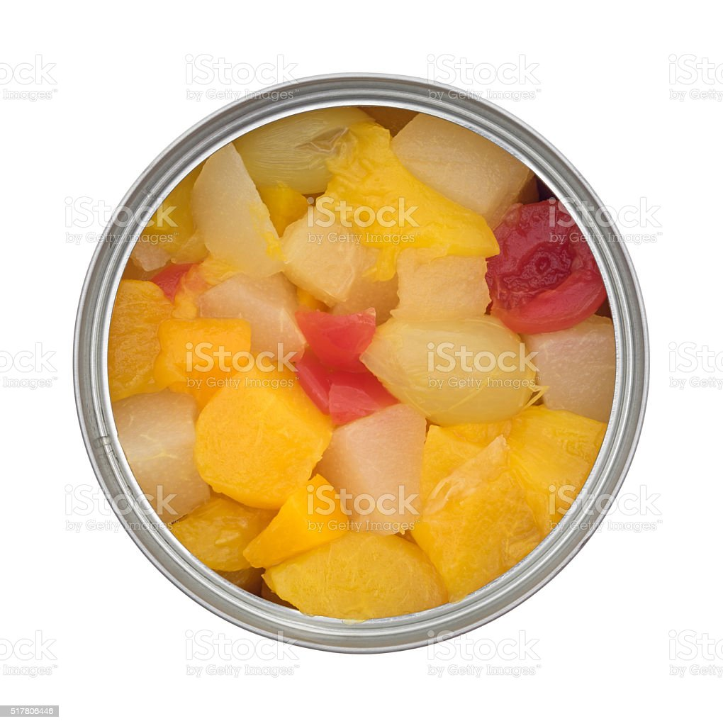 Opened can of fruit cocktail isolated on a white background stock photo