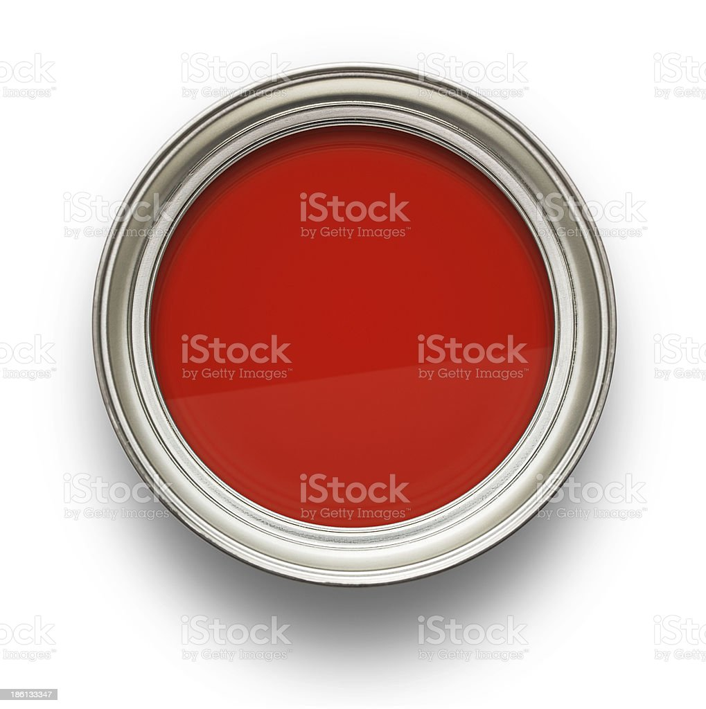 Opened can of red paint from above stock photo