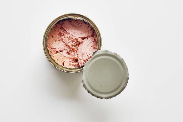 Opened can of Tuna fish against a plain white background. stock photo
