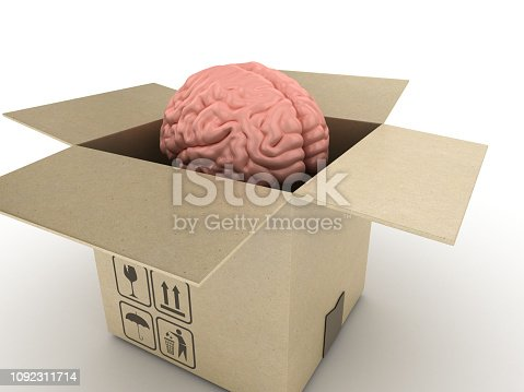 istock Opened Card Board Box with Human Brain - 3D Rendering 1092311714