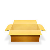 istock Opened cardboard box isolated on white background. 3D rendering 1143027661