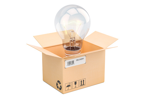 istock Opened cardboard box with lightbulb inside, new idea concept. 3D rendering 915017090