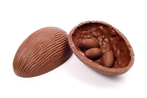 Opened chocolate Easter Egg stock photo