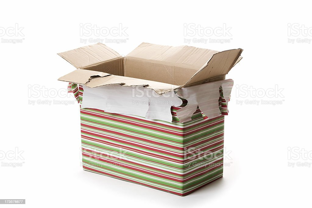 Opened Christmas gift. stock photo